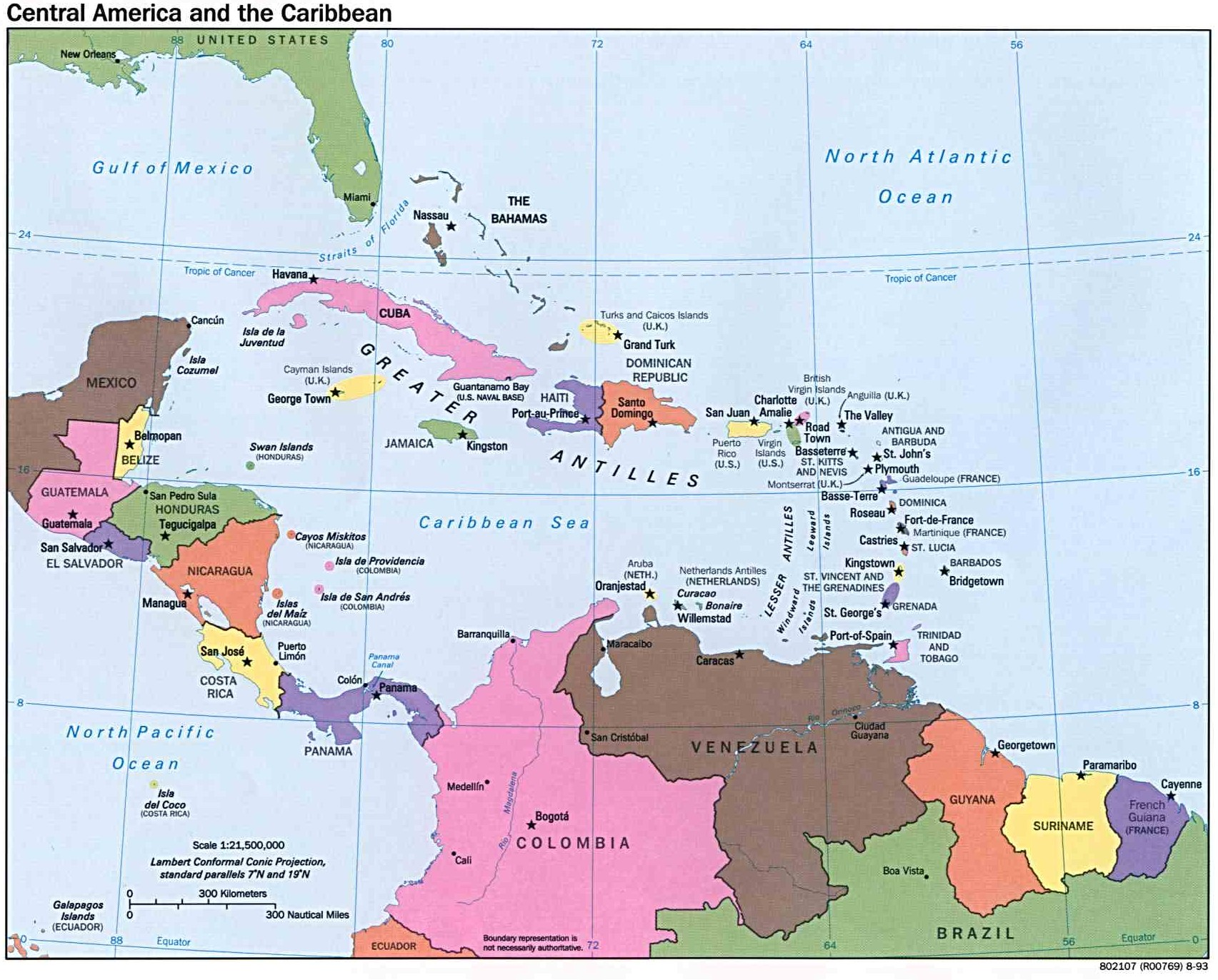 Mapa Politico De Centroamerica Y Caribe